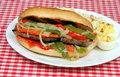 Sausage, Onion and Peppers Sandwich Stock Images