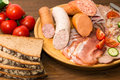 Sausage plate with bread and tomatoes Stock Photo