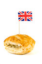 Sausage roll with union jack over white Stock Images