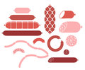 Sausage set isolated objects on white background vector illustration eps Royalty Free Stock Images