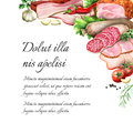 Sausage and smoked meat background. Royalty Free Stock Photo