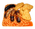 Sausages beans and hash browns cooked pork with baked isolated on a white background Stock Photos
