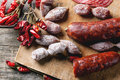 Sausages and chili peppers Royalty Free Stock Photo