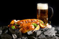 Sausages on coals Royalty Free Stock Photo