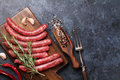 Sausages cooking Royalty Free Stock Photo