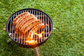 Sausages grilling on a portable barbecue over the hot glowing coals in standing green lawn with copyspace during picnic or Stock Images
