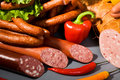 Sausages, ham and peppers Royalty Free Stock Photo