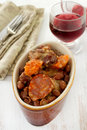 Sausages and meat with beans Royalty Free Stock Image