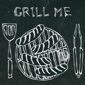 Sausages and Onion on The BBQ Grill. Lettering Grill Me. Barbecue Logo. on a Black Chalkboard Background