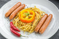 Sausages with pasta Royalty Free Stock Photo