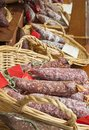 Sausages salami french on the market intranational food european delicatessen Royalty Free Stock Photos