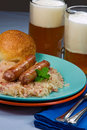 Sausages on Sauerkraut Stock Photo