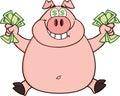 Sauter de sourire de rich pig with dollar eyes et d argent liquide Photo libre de droits