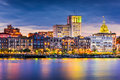 Savannah skyline georgia usa downtown Royalty Free Stock Photo