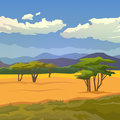 Savannah vector background mountains illustration on themes nature of africa safari noon in hunting camping trip african landscape Stock Image