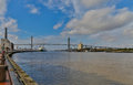 Savannah waterfront along the river in georgia Stock Photos