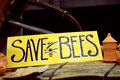 Save the bees are decreasing in numbers from pesticides fungus and loss of habitat are critical to crop pollination Stock Photo