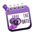 Save the date calendar sheet isolated with a couple inside a heart shape and text written with purple letters Stock Photo