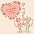 Save the date card with lovers cats this is file of eps format Royalty Free Stock Image