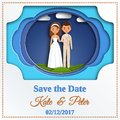 Save the date card. Paper cut style. Vector illustration