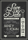 Save the date card template design with typography and flourish line art on chalkboard theme for vintage wedding invitation Royalty Free Stock Photos