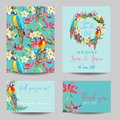 Save the Date Card - Tropical Flowers and Birds - for Wedding Royalty Free Stock Photo