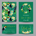 Save the Date Card. Tropical Flowers and Birds Royalty Free Stock Photo
