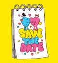 Save the date cute hearts love illustration Stock Photos