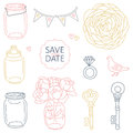 Save the date elements set of cute wedding Stock Photography