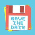 Save the date floppy diskette vector wedding invitation card Stock Image