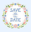 Save the date floral wreath decorative composition Royalty Free Stock Images