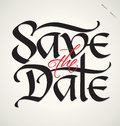 Save the date hand lettering handmade calligraphy Stock Images