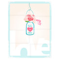 Save the date pretty vector card design depicting love with message on a hanging glass jar of pink roses with a heart Royalty Free Stock Photos
