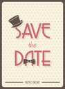 Save the date retro poster vector illustration of Stock Photo