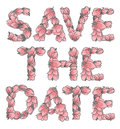 SAVE THE DATE sign or lettering made with sakura flowers