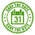 Save the date stamp green Stock Image