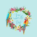 Save the Date Tropical Flowers and Birds Card - for Wedding Royalty Free Stock Photo