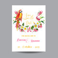 Save the Date. Wedding Card. Tropical Flowers and Parrot Bird