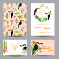 Save the Date. Wedding Card. Tropical Flowers. Toucan Bird
