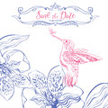 Save the date. Wedding invitation card with birds and floral heart. Royalty Free Stock Photo