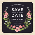 Save the date, wedding invitation card with hand drawn wreath flower template. Flower floral background.