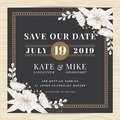 Save the date, wedding invitation card template with hand drawn flower floral background. Vintage style. Royalty Free Stock Photo
