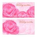 Uložiť dátum svadobné oznámenie / blahoprajná pohľadnica (osvedčenie / kupón) vektor akvarel kvety pivonky ruže