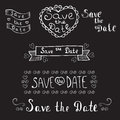 Save the date. Wedding invitation. Hand drawn romantic set. Vintage typographic design elements