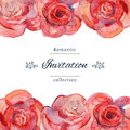 Save the date or wedding invitation template with roses.
