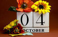 Save the date white block calendar for october th with autumn fall colors fruit and flowers theme individual special occasions Stock Photo