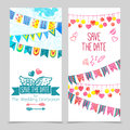 Save the day card set paper wedding invitation template isolated vector illustration Stock Image
