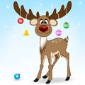 Save Download Preview Santa Claus happy cartoon Christmas deer flat icon. Reindeer vector art flat illustration. Deer animal iso Royalty Free Stock Photo