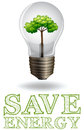 Save energy adverts with lightbulb and tree
