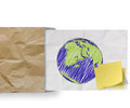 Save energy with sticky note and sketch illustration of planet e earth on crumpled envelope paper background as concept Royalty Free Stock Image